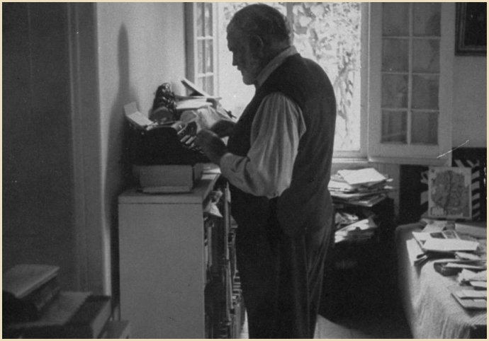 Hemingway standing while writing