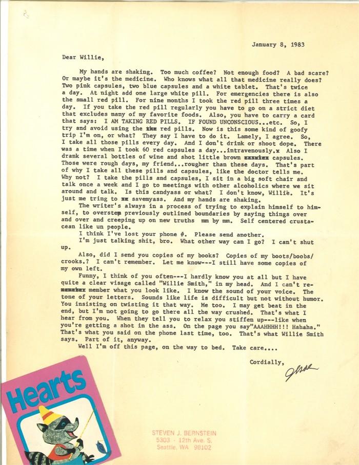 Steven Jesse Bernstein letter to Willie Smith
